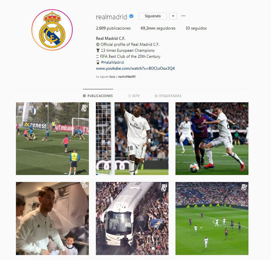 Instagram del Real Madrid.