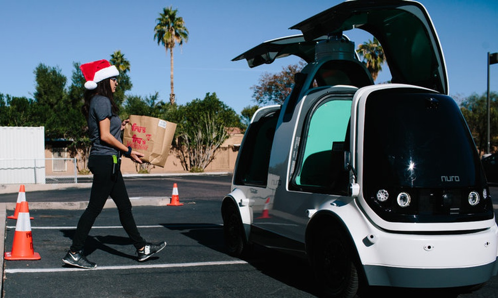To find a use for self-driving technology, a start-up called Nuro is testing mini cars to deliver groceries in Arizona. (Caitlin O'Hara for The New