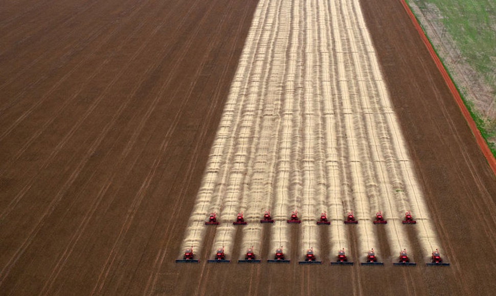 Agriculture now takes up about 40 percent of the land and causes a quarter of greenhouse gases. Soybeans in Brazil. (Yasuyoshi Chiba/Agence France-P